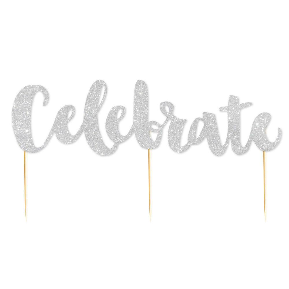 Celebrate' Silver Glitter Cake Topper illume design