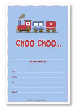 Choo Choo Train Party Invitation Sambellina
