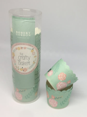 mint peachy bloom cupcake cases