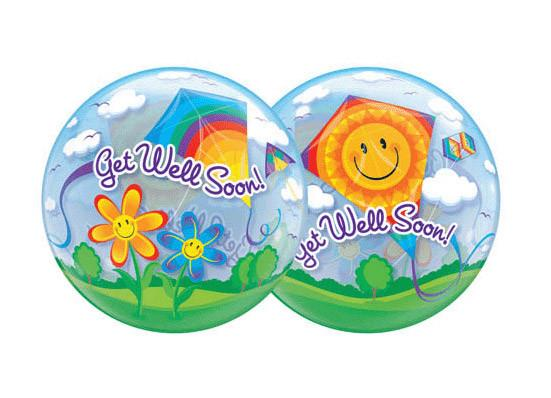 Get Well Soon Kites Bubble Balloon Qualatex