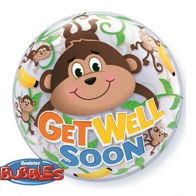 Get Well Soon Monkeys Bubble Balloon Qualatex