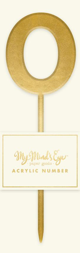 Gold Acrylic '0' Zero Number Cake Topper My Mind's Eye