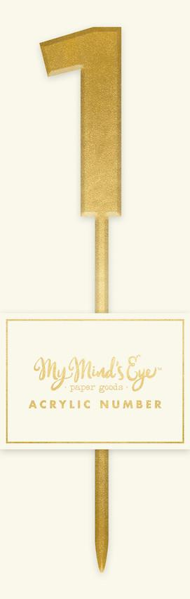 Gold Acrylic Number '1' Cake Topper My Mind's Eye