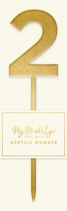 Gold Acrylic Number '2' Cake Topper My Mind's Eye
