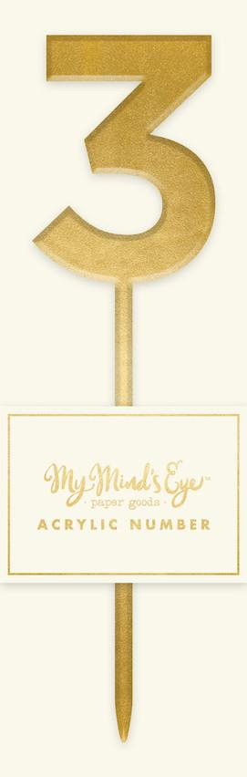 Gold Acrylic Number '3' Cake Topper My Mind's Eye