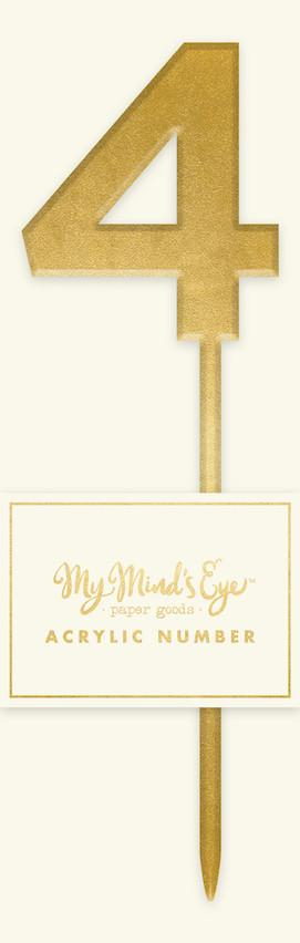 Gold Acrylic Number '4' Cake Topper My Mind's Eye