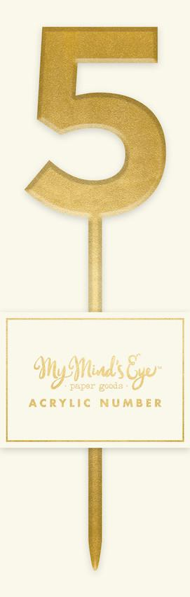Gold Acrylic Number '5' Cake Topper My Mind's Eye
