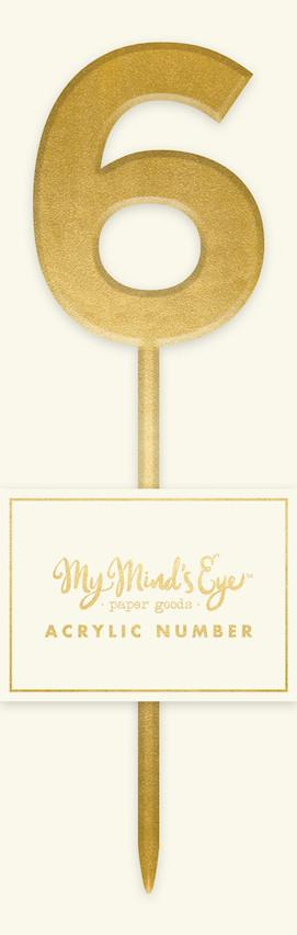 Gold Acrylic Number '6' Cake Topper My Mind's Eye