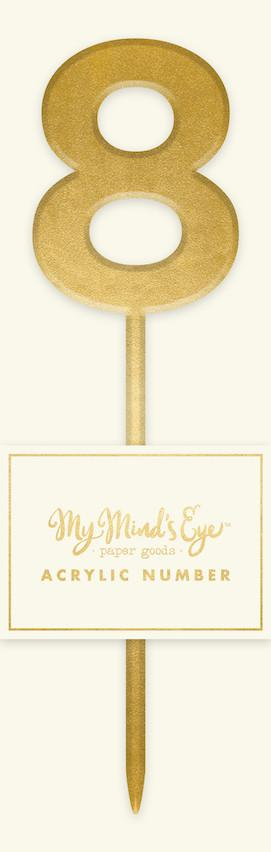 Gold Acrylic Number 8 Cake Topper My Mind's Eye