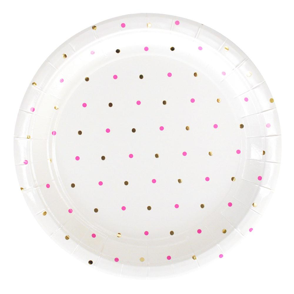 Gold And Pink Dots Large Plates illume design