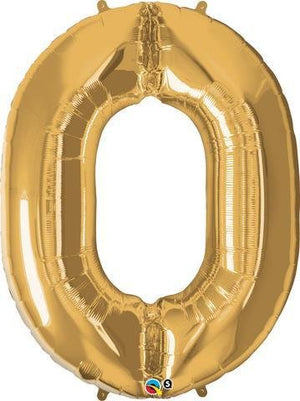 Gold Number 0 Zero 86cm Foil Balloon Qualatex