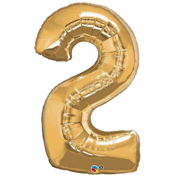 Gold Number 2 Two 86cm Foil Balloon Qualatex