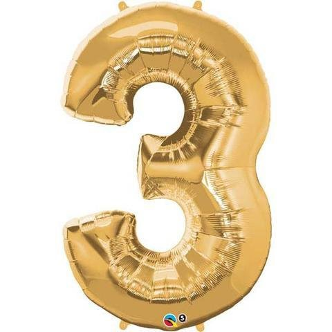 Gold Number 3 Three 86cm Foil Balloon Qualatex