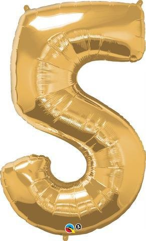 Gold Number 5 Five 86cm Foil Balloon Qualatex