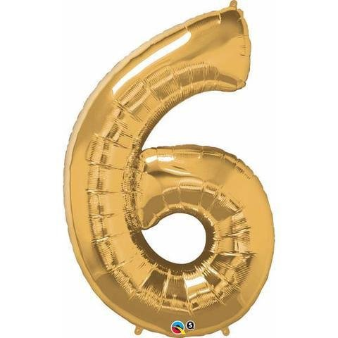 Gold Number 6 Six 86cm Foil Balloon Qualatex