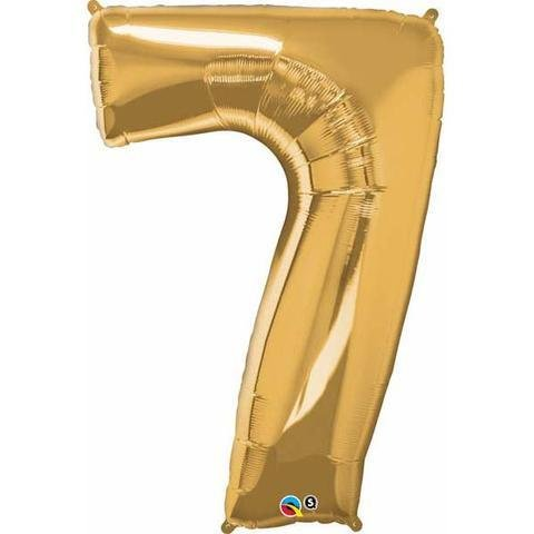 Gold Number 7 Seven 86cm Foil Balloon Qualatex