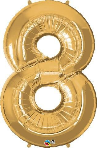 Gold Number 8 Eight 86cm Foil Balloon Qualatex