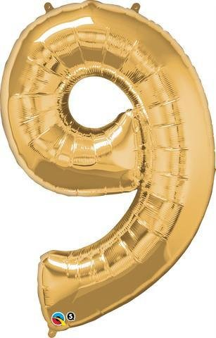 Gold Number 9 Nine 86cm Foil Balloon Qualatex