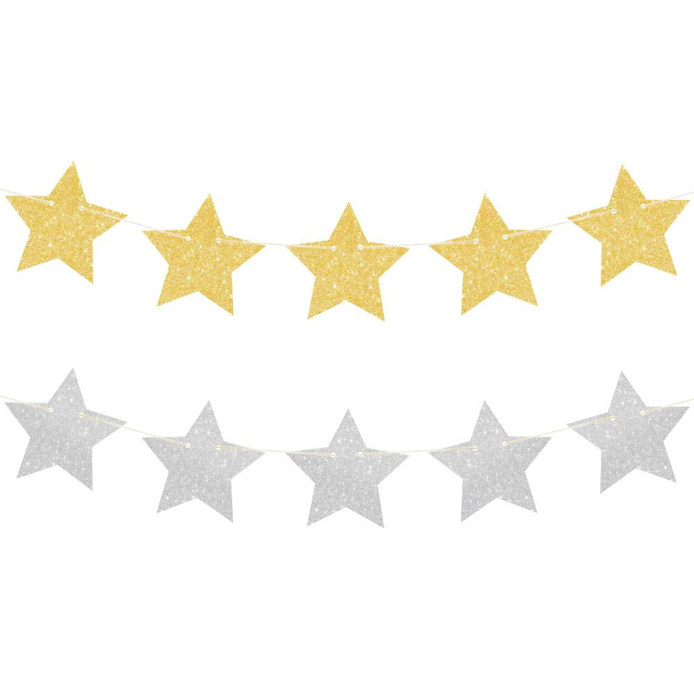 Gold and Silver Reversible Glitter Star Garland illume design