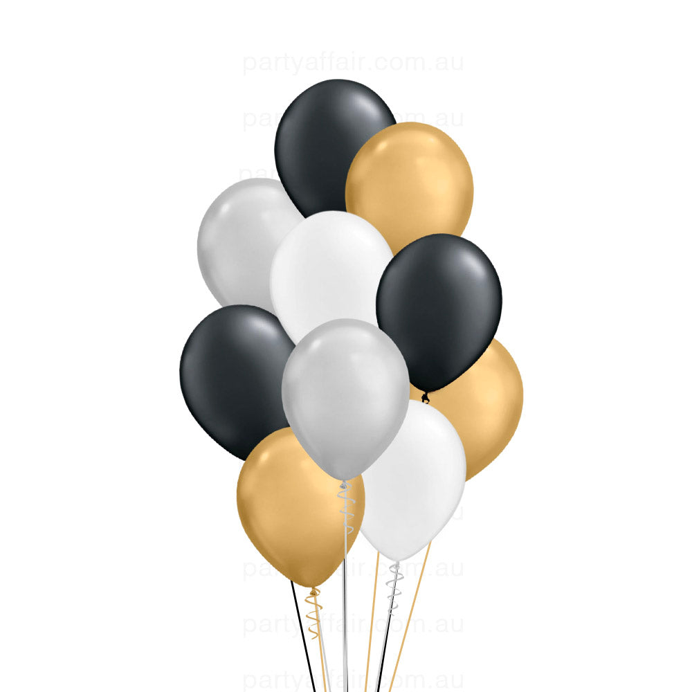 Gold Black White Silver Latex 10 Balloon Bouquet