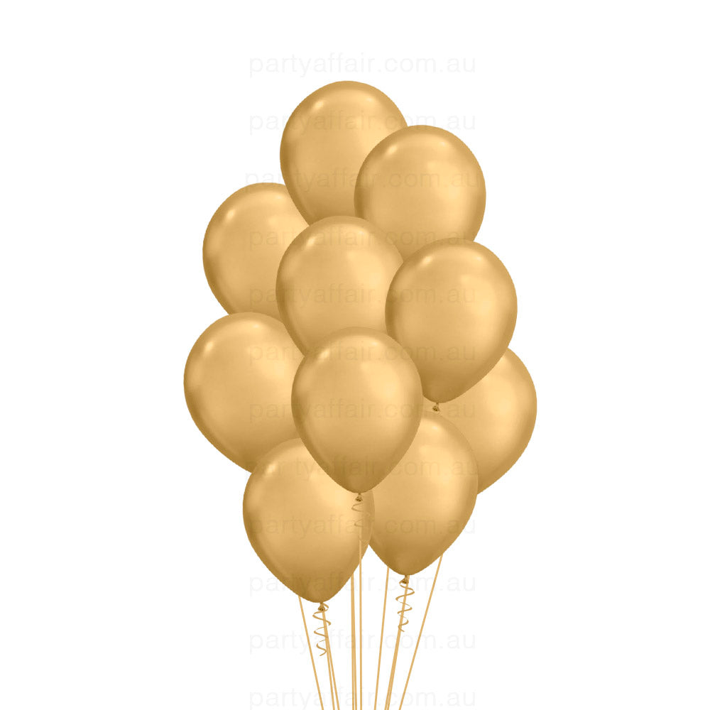 Gold Chrome Latex 10 Balloon Bouquet