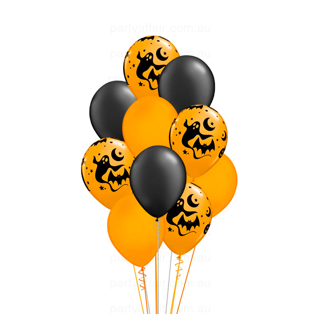 Halloween Black & Orange Latex 10 Balloon Bouquet