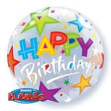 Happy Birthday Brilliant Stars Bubble Balloon Various