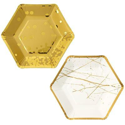 Hexagonal Plates with Foil Detail Talking Tables