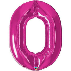 Hot Pink Number 0 Zero 86cm Foil Balloon Qualatex