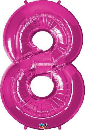 Hot Pink Number 8 Eight 86cm Foil Balloon Qualatex