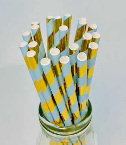 Blue and Gold Foil Striped Paper Straws