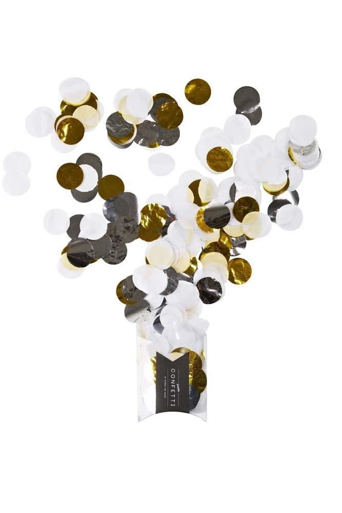 Metallic Jumbo Confetti Silver, Gold & White Poppies for Grace