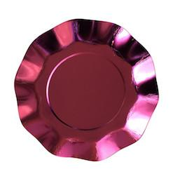 Metallic Pink Ruffled Paper Plates Sundays