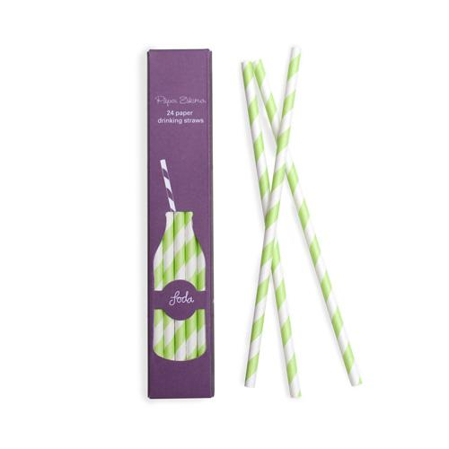 Apple Green Stripes Paper Straws