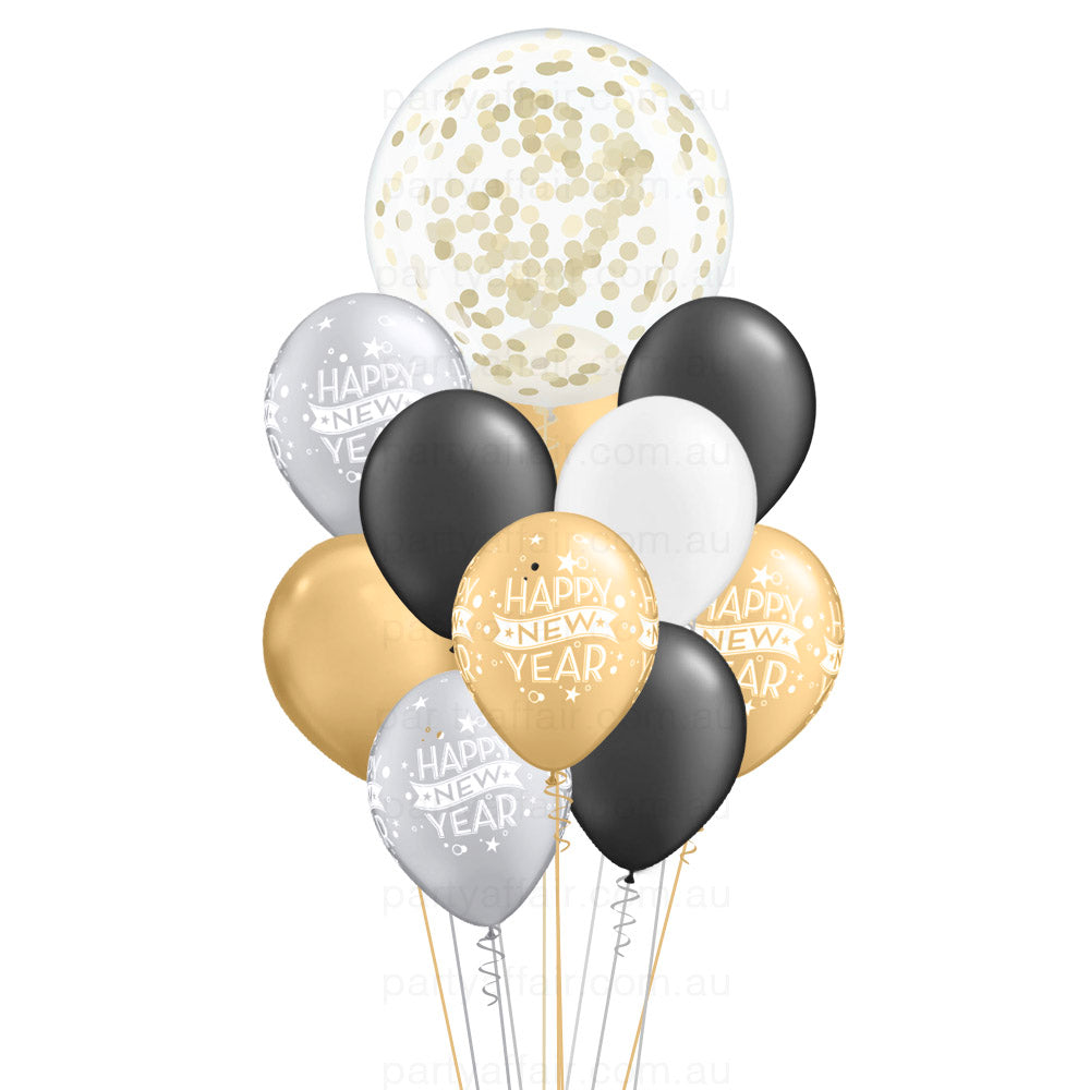 Happy New Year Black, White, Silver & Gold Confetti Mini Jumbo Balloon Bouquet
