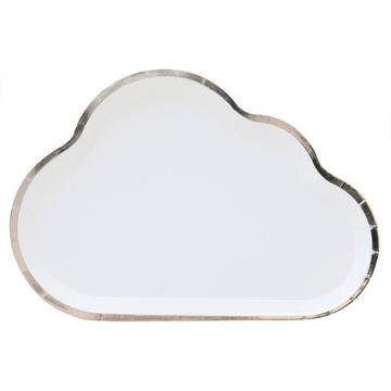 White Cloud Plate With Silver Foil Edge