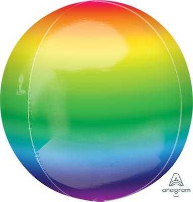 Bright Metallic Rainbow Orbz Foil Balloon