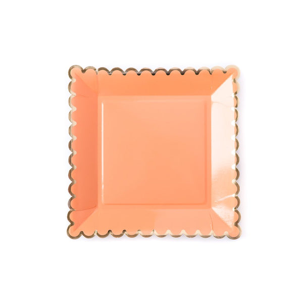Coral With Gold Scalloped Lunch Plates