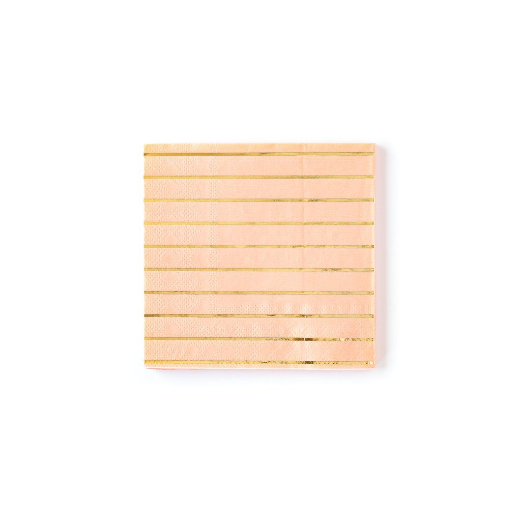 Coral With Gold Stripe Cocktail Napkins