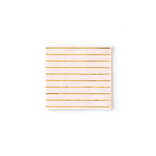 Blush With Gold Stripe Cocktail Napkins