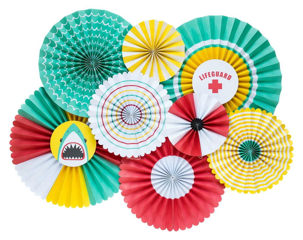 Pool Party Assorted Decorative Paper Fans