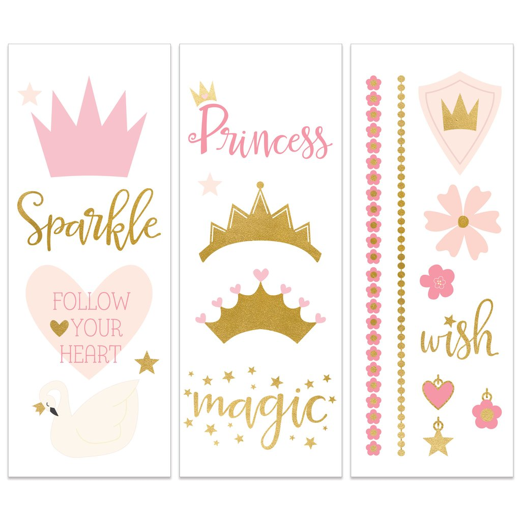 Princess Pink And Gold Temporary Tattoos