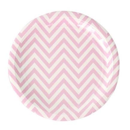 Pink Chevron Paper Dinner Plates illume design