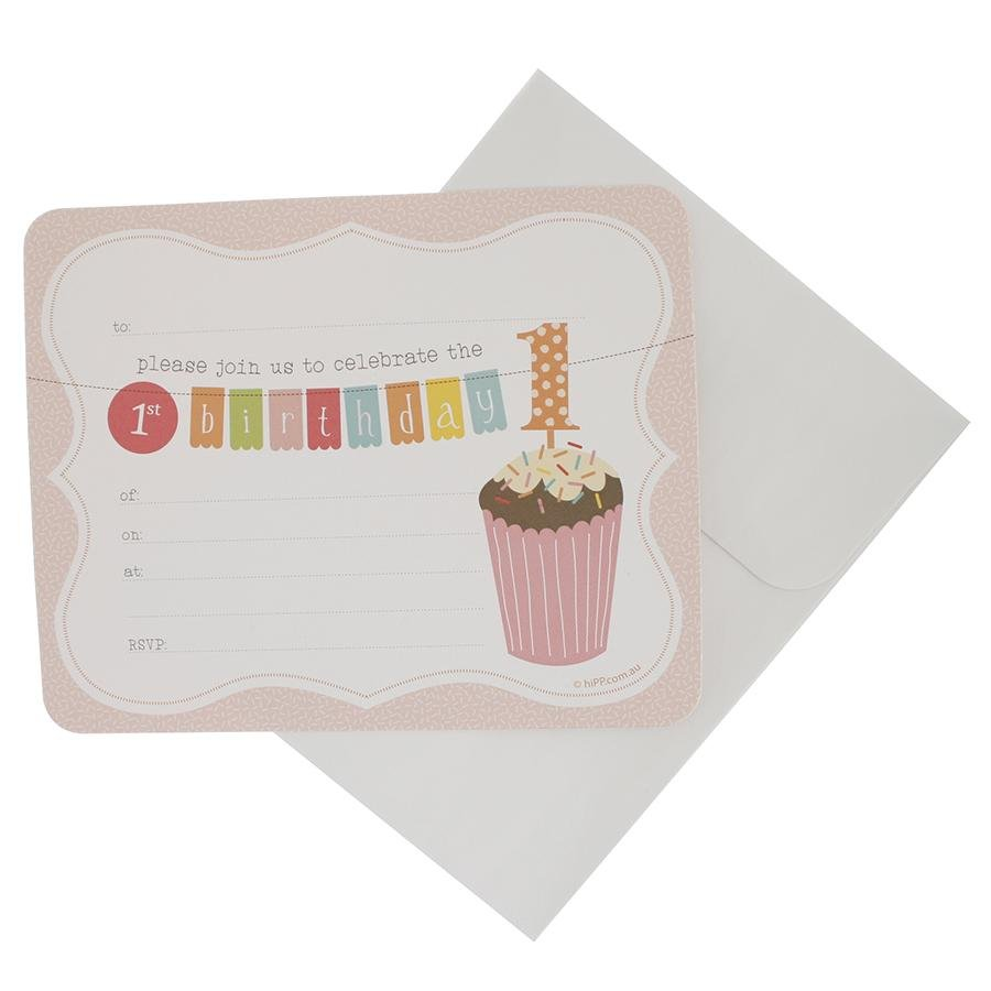 Pink First Birthday Party Invitations hiPP