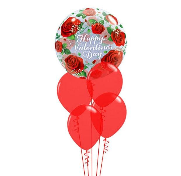 Red Roses Bubble Balloon Bouquet Qualatex