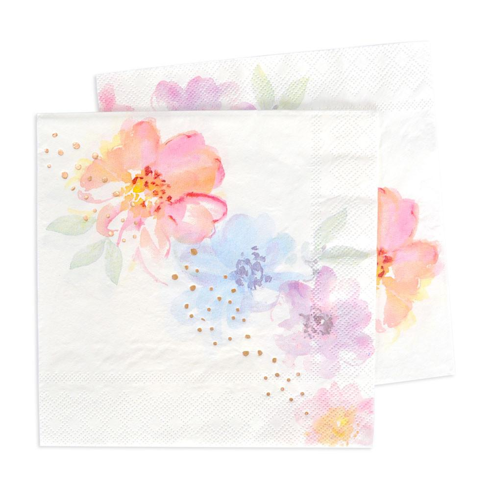 Rose Gold Floral Lunch Napkins