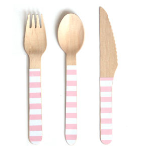 pink and white striped cutlery