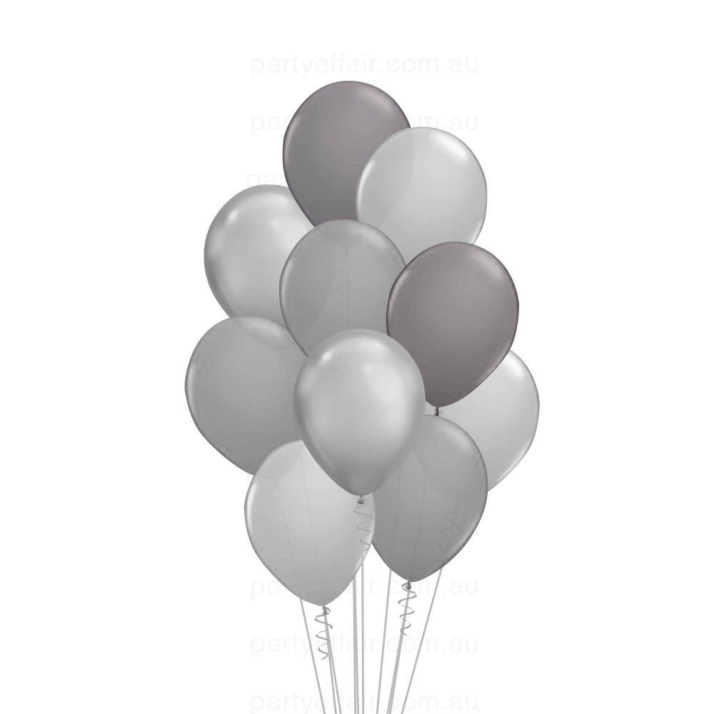 Shades of Grey Latex 10 Balloon Bouquet