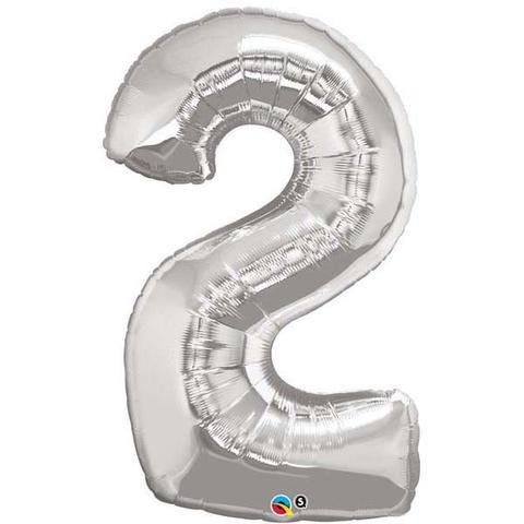 Silver Number 2 Two 86cm Foil Balloon Qualatex