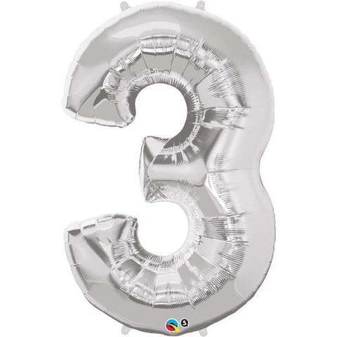 Silver Number 3 Three 86cm Foil Balloon Qualatex
